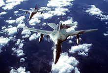 An air-to-air front overhead view of two FB-111s in formation