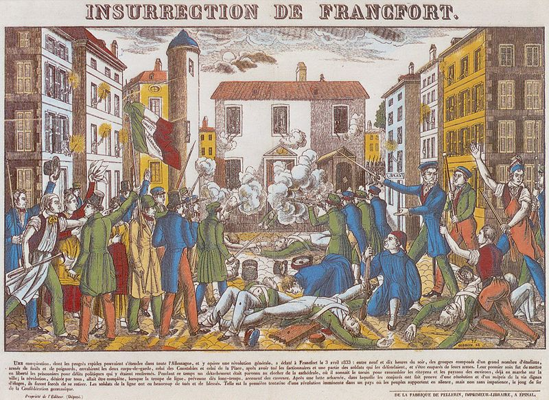 Frankfurt Guard Storm of 1833 (color woodcut by Francois Georgin).