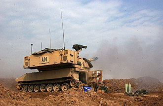 M109 howitzer - An M109A6 firing a shell during combat operations in Fallujah, Iraq