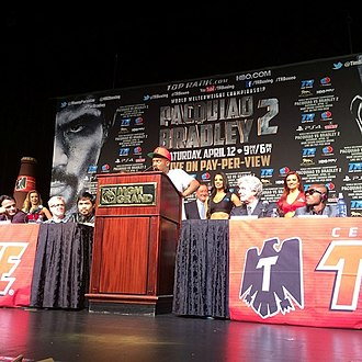 "Fashawn - Fashawn speaking about his song ""Champion"" during the final press conference for the Manny Pacquiao vs. Timothy Bradley II championship rematch in Las Vegas."