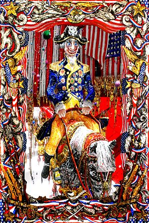 "Federico Solmi - ""Father of His Country"" acrylic, gold leaf, mixed media with LCD screen and video 34"" x 52"""
