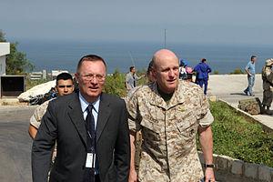 Jeffrey D. Feltman - Ambassador Feltman with U.S. Marine Brigadier General Carl Jensen during the evacuation of Beirut, July 2006