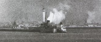 SS Fenella (1936) - Fenella comes under air attack, whilst berthed alongside the East Mole at Dunkirk, 29 May 1940.