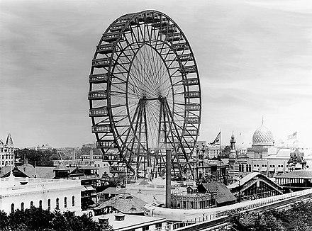 La original, para su época, noria Ferris Wheel, construida en 1893 para la Exposición de Chicago