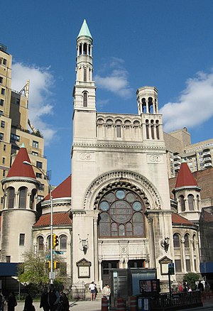 First Baptist Church in the City of New York - The sanctuary at Broadway and 79th Street, with asymmetrical towers