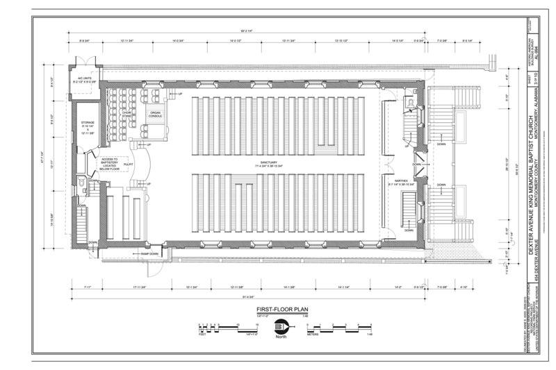 File First Floor Plan Dexter Avenue King Memorial Baptist Church 454 Dexter Avenue Montgomery Montgomery County Al Habs Al 994 Sheet 3 Of 10 Png Wikimedia Commons