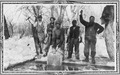 Five men cut large blocks of ice from frozen lake - NARA - 285481.tif