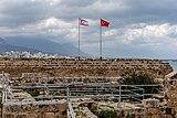 Flags of Turkey and Northern Cyprus, Kyrenia Castle, Kyrenia, Northen Cyprus.jpg