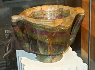 Fluorite - Crawford Cup (Roman, 50-100 CE) in the collection of the British Museum. Made of fluorite.