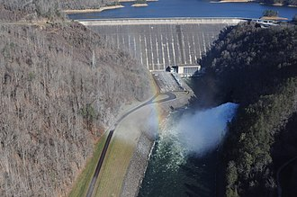 Fontana Dam - Fontana Dam and powerhouse (aerial view)