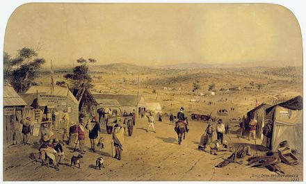 A view of the goldfields near Castlemaine in 1852, painted by Samuel Thomas Gill Forest Creek (Castlemaine, Victoria) 1852.jpg