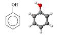 Formula di struttura e modello molecolare tridimensionale del fenolo.png
