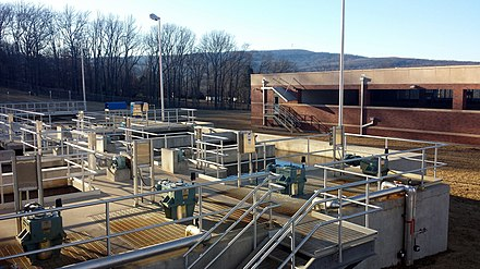View of the coagulation and flocculation processes at the Lake Fort Smith WTP Fort Smith Municipal Water Plant 02.jpg