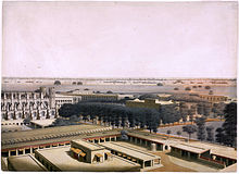 A 19th-century painting showing several buildings within a compound.