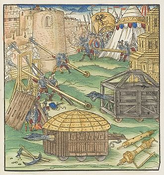 Siege - Depiction of various siege machines in the mid-16th century.