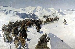 Franz Roubaud. Count Argutinsky crossing the Caucasian range. 1892