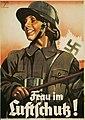Frau im Luftschutz! Ludwig Hohlwein 1874-1949 München Reichsluftschutzbund Hermann Klokow Berlin Plakat Propaganda Drittes Reich 1936 60x42cm LEO-BW WLB Stuttgart - BfZ IDN 4.2-11 00002760 Nazi Germany Poster No known copyright restri.jpg