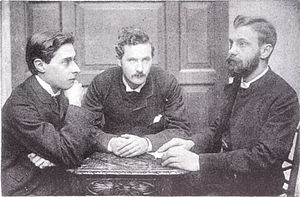 John William Mackail - Bowyer Nichols, J. W. Mackail, and H. C. Beeching, by Frederick Hollyer, c. 1882.