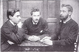Henry Beeching - Bowyer Nichols, J. W. Mackail, and H. C. Beeching, by Frederick Hollyer, c. 1882.