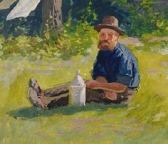 Gouache - Image: Friedrich Schwinge Selbstportrait im Garten