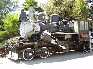 Climax locomotive - Fruit Growers Number 3 on display at Fairplex in Pomona, California.