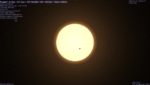 Pi Herculis - The star Pi Herculis, rendered with Celestia software, as it might appear from 3 Astronomical Units away.
