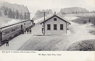 Gales Ferry, Connecticut - An early-20th-century postcard of Gales Ferry's train station, which opened in 1899 when the Norwich and Worcester Railroad was extended to Groton