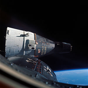 Gemini 6A - Gemini VI-A (foreground) and Gemini VII make the first rendezvous in orbit between two manned spacecraft