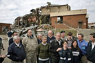 Tornado outbreak of February 28 – March 2, 2007 - President Bush talks with the media after walking through the tornado damage at Enterprise High School.