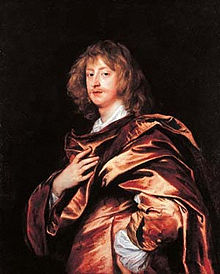 A side-on portrait of George Digby, wearing a voluminous satin cloak and sporting a wispy ginger moustache.