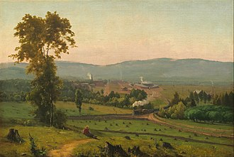Scranton, Pennsylvania - Scranton in 1855, as depicted by George Inness's painting The Lackawanna Valley, noting roundhouse of the Delaware, Lackawanna and Western Railroad
