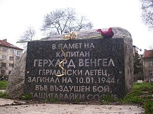 """Jagdgeschwader 5 -  Hauptmann Gerhard Wengel Gruppenkommandeur of I./JG 5 """"Eismeer"""" memorial slab in Sofia"""