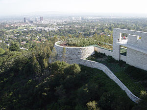 Getty Center - Cactus Garden perched on the south of the Getty Center, with West Los Angeles in the background