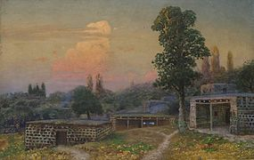 Gevork Bashindzhagian. Armenian village at sunrise.jpg