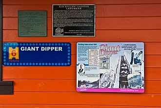 Giant Dipper - Plaques outside the ride's entrance
