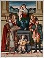 Giovanni di Andrea de magistris (bottega), madonna in trono tra i ss. romolo e rocco, 1539, 01.jpg