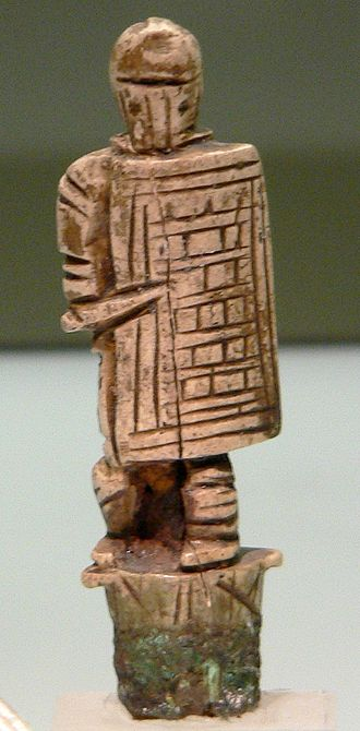 Secutor - Knife handle in the form of a secutor, showing the distinctive shield, helmet, and sword