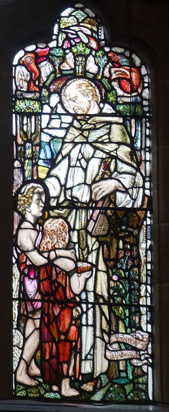 Saint Modan - Saint Modan (Robert Story Memorial Window by Douglas Strachan, in the Bute Hall of Glasgow University)