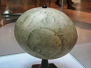 Phobos (moon) - Globe of Phobos at the Memorial Museum of Astronautics in Moscow (19 May 2012).