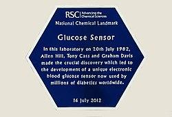 Photo of Allen Hill, Tony Cass, Graham Davis, and Glucose Sensor blue plaque