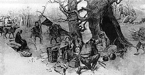 Republic of Guria - The Gurians hiding in the forest by Anton Gogiashvili, 1906.