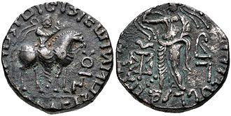 Sases - Coin of Gondophares-Sases (Circa AD 19/20-46). Tetradrachm (21mm, 10.00 g, 10h). Sases on horseback right, raising right arm, tamgha to right. Rev Zeus Nikephoros.
