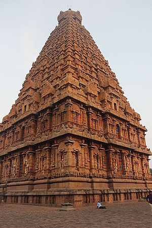 Chola dynasty - Gopuram Corner View of Thanjavur Brihadeeswara Temple.