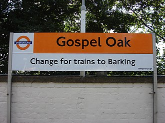 Gospel Oak to Barking line - Sign advertising the interchange at Gospel Oak