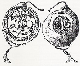 Sketch of a medieval seal, with Saint George slaying the dragon in the obverse, and a shield on the reverse