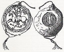 Schizzo di un sigillo medievale, con San Giorgio che uccide il drago al dritto e uno scudo sul retro
