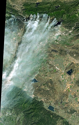 Old Fire - Old Fire and Grand Prix fires: Natural color aerial image