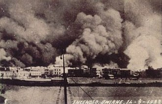 Smyrna - The Great Fire of Smyrna as seen from an Italian ship, 14 September 1922