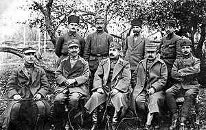 Nikolaos Trikoupis - Greek generals at the Kırşehir POW camp: from left to right, Col. Dimitrios Dimaras (4th Division), Maj. Gen. Nikolaos Trikoupis (I Corps), Staff Col. Adnan or Kemaleddin Sami, Maj. Gen. Kimon Digenis (II Corps) and Lieutenant Emin