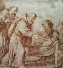 Błogosławiony Feliks z Cantalice wskrzeszający martwe dziecko